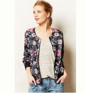 Anthropologie Tolani Palash Quilted Floral Bomber